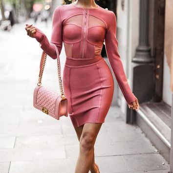 Woman on Top Pink Long Sleeve Cut Out Sheer Mesh Bodycon Bandage Mini Dress