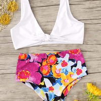 Plunging Neck Top With Random Watercolor Floral Bikini
