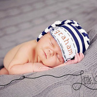 newborn personalized knot hat, baby boy hospital hat