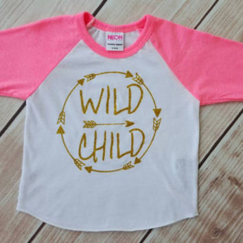 raglan tee, trendy baby girl, toddler raglan, baby raglan, gold glitter, wild child shirt, trendy baby girl clothes, hipster, girl
