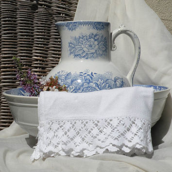 French shabby chic antique bowl and pitcher by Hamage Nord, antique jardinière blue and white pitcher and bowl country home antique wash set