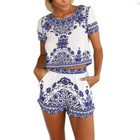 New Style Summer Women Plus Size Elegant Retro Floral Printed Short Sleeved Mini Boho Beach Dresses Two Piece Outfits
