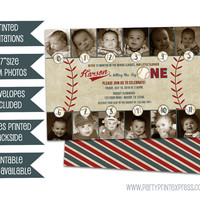 Photo Baseball 1st Birthday Invitations - Little Slugger Photo Timeline Invitation - Boy First Birthday Invites - Minor Leagues 1st Vintage