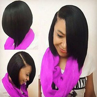 Straight Heat Resistant Side Bang Bob Synthetic Wig For Women