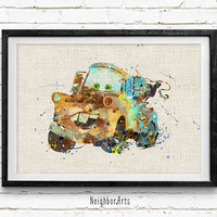 Cars Mater Watercolor Art Print, Watercolor Poster, Kids Decor, Nursery Art, Gift, Wall Art, Home Decor Not Framed, Buy 2 Get 1 Free