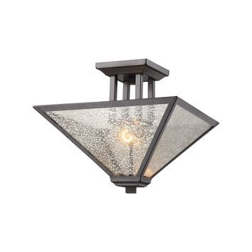 70274/2 Plano 2 Light Semi Flush In Iron Rust With Mercury Glass - Free Shipping!