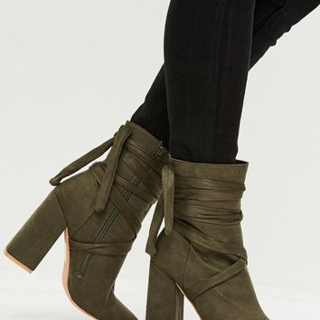 Missguided - Khaki Wrap Around Ankle Boots