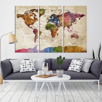 74334 - World Map Wall Art - World Map Push Pin Travel- Push Pin World Map- World Travel Map- Push Pin Map Canvas- Travel Map Canvas- Travel Map Art