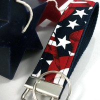 KEYLETTE Key Fob Wristlet.....Red White and Blue Patriotic Flag