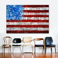 Canvas Wall Art: Abstract USA Flag Print on Canvas for Home or Office Decor