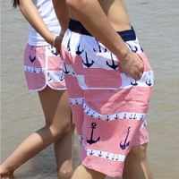 Juice Action Unisex Anchor Print Couples Beach Shorts Beachwear Swimming Trunks