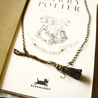 Harry Potter Firebolt broom necklace with OPTIONAL by SixAstray
