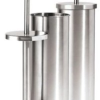 Oggi Satin Finish Stainless Steel 14.5 Inch Toilet Plunger and Holder