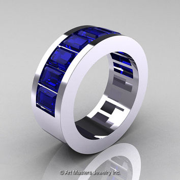 Mens Modern 14K White Gold Blue Sapphire Channel Cluster Wedding Band R174RM-14WGBS