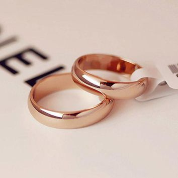 CREYCI7 Simple Round Men Rings female Rose Gold color wedding rings for women Lover's fashion Jewelry anel bijoux Gift