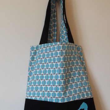 Blue and Black Seahorse Denim Tote