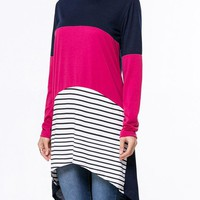 Casual Boat Neck Color Block Striped High-Low Long Sleeve T-Shirt