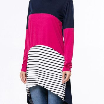 Boat Neck Color Block Striped High-Low Long Sleeve T-Shirt