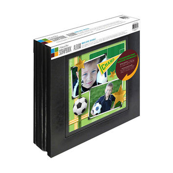 Memory Stor Scrapbook Album Bonded Leather With Large Display Window, 20 Pages - 2 Pack, Black