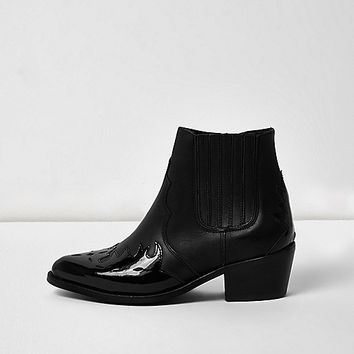 Black leather patent panel Western boots - boots - shoes / boots - women