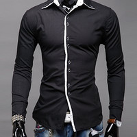Shirt Collar Placket Button Long Sleeve Shirt