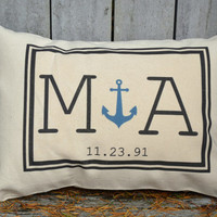 Anniversary gift,  Anchor pillow, wedding gift, Cotton anniversary, 2nd Anniversary, Nautical gift, Couples gift, anniversary gift, monogram