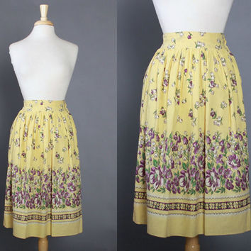 Vintage 1940s Floral Border Print Cotton SKIRT / Early 40s Butter Yellow, Green & Lavender, xs - s