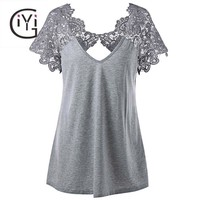 Plus Size Summer 2018 Vintage Cutwork Lace Trim Top for Women