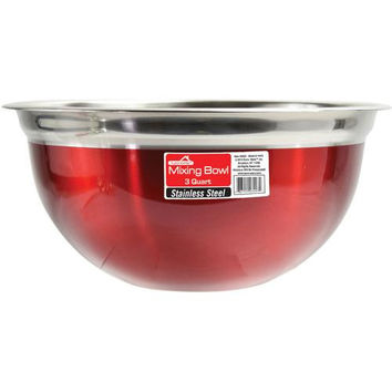 Red Stainless Steel Mixing Bowl - 3 Qt.