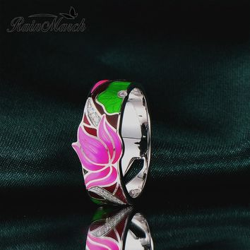 RainMarch Enamel Lotus Flower Silver Engagement Ring For Women 925 Sterling Silver Rings Cubic Zirconia Party Enamel Jewelry