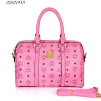 MCM Women Leather Luggage Travel Bags Tote Handbag Pink G-YJBD-2H