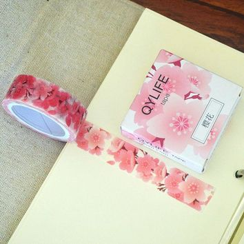 VONC1Y 5M Cherry Flower Washi Tape Lot Masking Tape Post it Japanese New Stickers Kawaii Stationery School Supplies 2017 DIY Hot New