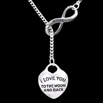 I Love You To The Moon And Back Gift Girlfriend Wife Infinity Lariat Necklace