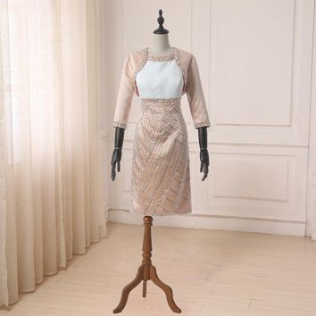 Mother of the Bride Dresses Elegant Long Sleeves Beaded Pearls Knee Length Mother Gowns with Jacket