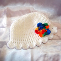 White Newborn Hat with Rainbow Flower and Shell Edging