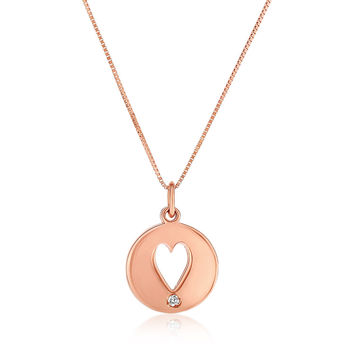 Diamond Accented Heart Cutout Disc Pendant & Necklace in 14k Rose Gold