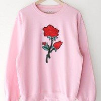 Rose Oversized Sweatshirt - Pink