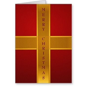Red & Gold Wrapped Christmas Gift Box Greeting Card