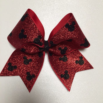 Red & Black Polka Dot Mickey Mouse Bow