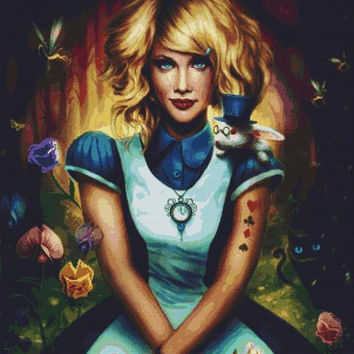 Modern Cross Stitch Kit By Jonas Joedicke 'Alice in Wonderland' - Jojoes Art Cheshire Cat made with DMC materials