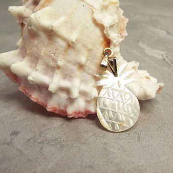 Small Pineapple Pendant, Mother of Pearl, White Shell, Gold Tone, with Bail, Jewelry Making, Pineapple Charm, Vintage Supply, Carved Pendant