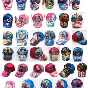 Trendy Winter Jacket 1pcs cartoon mickey minnie princess avengers mix boy girl Fashion Sun Hat Mario Casual Cosplay Baseball Cap children party gifts AT_92_12