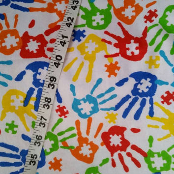 Autism awareness flannel fabric hand prints puzzle  cotton quilt print quilters material sewing project BTY crafting by the yard quilting