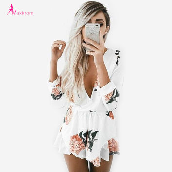 Summer Style Jumpsuits 2017 Fashion Loose Rompers Flower Printing Three Quarter Sleeve Sexy Deep V-Neck Casual Women Jumpsuits