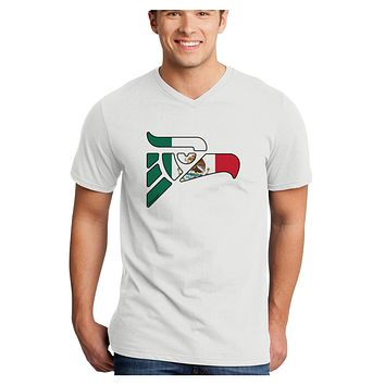 Hecho en Mexico Eagle Symbol - Mexican Flag Adult V-Neck T-shirt by TooLoud