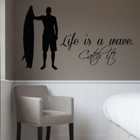 Wall Decals Vinyl Decal Sticker Surfing Boy Surfer Quote Life Is a Wave Catch It Baby Kids Nursery Room Living Room Home Interior Design Kg840