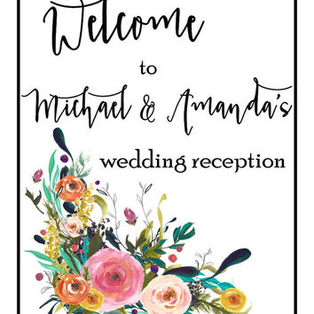 Custom wedding reception sign, instant download, persoanlized reception signage, printable wedding sign, husband and wife print, table decor
