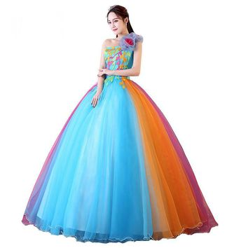 Candy Color Evening Dress One-Shoulder Strapless Colorful Ball Gown  Appliques Lace Flower