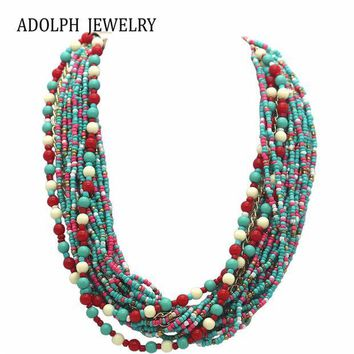 ac NOOW2 ADOLPH Jewelry Fashion Brand Europe Popular Beads multi layer Gold Pendants Choker Necklace For Woman 2015 New Statement 56