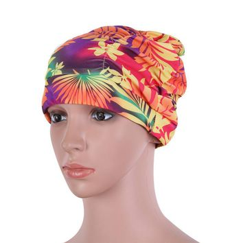 Sexy Girls Drape Stretch Long Hair Swim Caps Hat Bathing Cap Swimming Hat Star Floral Pattern